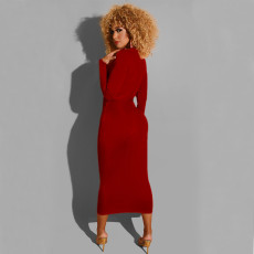 Velvet Long Sleeve Sashes Slim Midi Dress DAI-8190