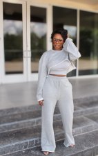 Solid Loose O Neck Long Sleeve Crop Top And Pants Sets (Without Vest) OLYF-96079