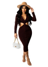 Solid Color Long Sleeve Hollow Midi Dress OSM-7004