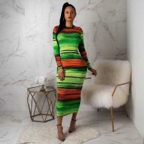 Colorful Stripes O Neck Full Sleeve Midi Dress LSD-8284