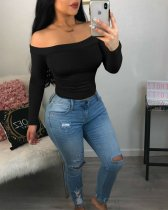 Plus Size Solid Slash Neck Long Sleeve Pullover Tops PIN-8251