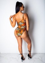 Tiger Stripes Bikinis Bandage Sexy One Piece Swimsuit OMR-9545