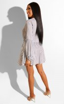 Casual Stripes Elastic Waist Long Sleeve Mini Shirt Dress BER-1856