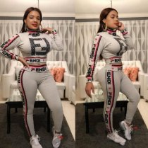 Fashion Letter Printed Sport Two Pieces Pants Sets Plus Size OY-5325