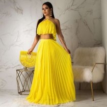 Sexy Spaghetti Strap Pleated Maxi Skirt Sets OD-8284