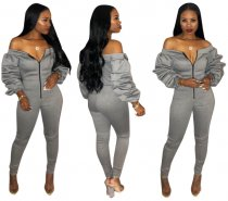 Gray Slash Neck Zipper Skinny Jumpsuit OD-8198