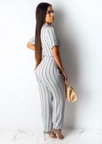 Casual Stripes Print Short Sleeve Sashes Jumpsuits SHD-9151
