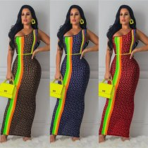 Geometric Print One Shoulder Sleeveless Slim Maxi Dresses OJS-9122