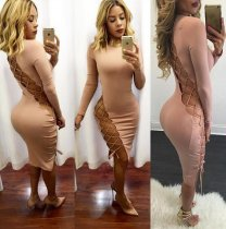 Pink Hollow-out Long Sleeve Bandage Dresses LS-L0025