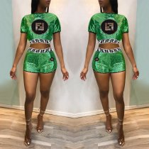 Sexy Sequined Short Sleeve Two Piece Set AL-103