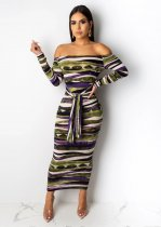 Sexy Off Shoulder Long Sleeve Slim Long Maxi Dress ML-7237