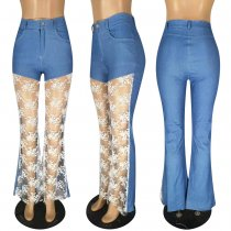 Denim Lace Patchwork High Waist Long Flare Jeans Pants YIS-729