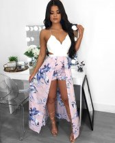 Printed Sleeveless Backless Sexy Romper LS-0248