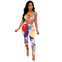 Sexy Printed Tube Tops And Long Pants Sets LUO-6193