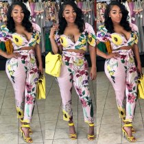 Floral Print Striped V Neck Crop Top Long Pants 2 Piece Suit OY-6016