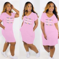 Plus Size Letter Print V Neck Short Sleeve T Shirt HGL-1199