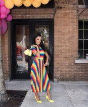 Rainbow Stripes Short Sleeve T Shirt And Maxi Skirt Sets YN-020