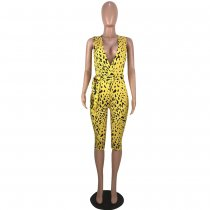 Leopard Deep V Sleeveless Sashes Half Length Jumpsuits CXM-8042