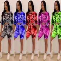 Casual Printed Short Sleeve T Shirt Shorts 2 Piece Sets HM-6139