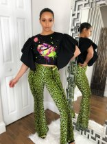 Plus Size Leopard Print Ruffles Sleeve Two Piece Pants Set SC-627