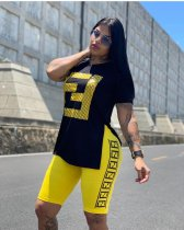 Letter Print Casual Sports Tracksuit Two Piece Shorts Sets OY-5368