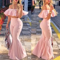 Sexy Ruffles Off Shoulder Crop Tops Flare Pants 2 Piece Set BN-9194