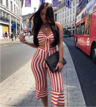 Striped Bow Knot Crop Tops Pants Set HM-6010