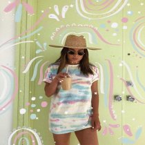 Tie Dye Print Short Sleeve Mini Dress OYF-8032