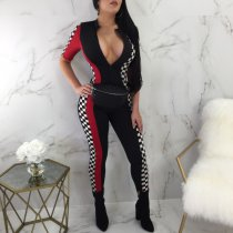 White Black Plaid Half Sleeve Racing Jumpsuit LX-2816