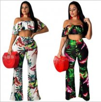 Floral Print  Ruffles Off Shoulder Flare Pants Two Piece Sets ZS-Y080