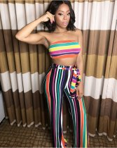 Colorful Striped Tube Top Wide Leg Pant Sets OM-1522