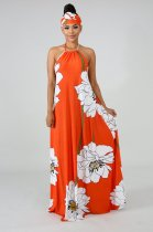 Floral Print Summer Halter Maxi Dress With Headscarf YS-8322