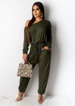 Solid Slash Neck Casual Loose Long Sleeve Jumpsuits YM-9155