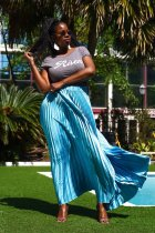 Fashion High Waist Big Swing Pleated Long Skirts LA-3102