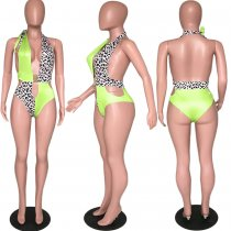 Leopard Print Parchwork Halter One Piece Swimsuit ARM-8108