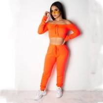 Solid Slash Neck Crop Top And Pants Two Piece Suits DAI-8124