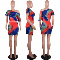 Tie Dye Print Oblique Tops And Mini Skirt Serts OYF-8045