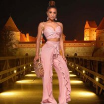 Pink Crop Top Ruffles Wide Leg Pants 2 Piece Set YF-9324