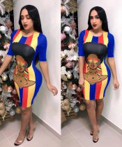 Plus Size Cartoon Print Stripe Half Sleeve Midi Dresses PIN-8311