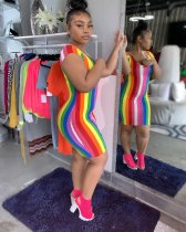 Rainbow Stripe Short Sleeve Mini Dress MYP-8863