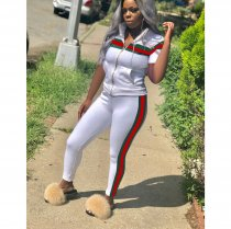 Plus Size Green And Red Stripes Sports Two Piece Sets YN-9075