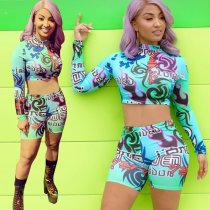 Sexy Printed Long Sleeve Crop Top And Shorts Set CH-8043