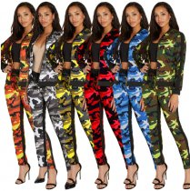 Fashion Camouflage Printed Two Pieces Sets SMR9118