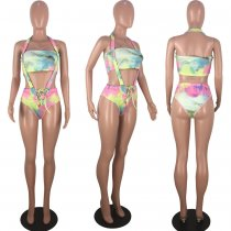 Sexy Printed  2pcs Swimsuit Bandeau Bikini Sets KD-6029