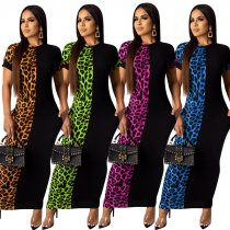 Leoaprd Print Patchwork Short Sleeve Long Maxi Dresses TE-3834