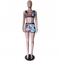 Printed Tank Tops And Shorts Fitness Two Piece Sets OD-8282