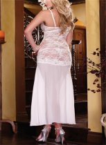 White Lace Side Split Long Gown FQQ-0150