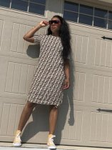 Letter Print Short Sleeve Side Split Midi Dresses HZM-995