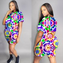 Plus Size Colorful Printed Short Sleeve 2 Piece Shorts Sets YH-5071