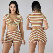 Sexy Striped Deep V Short Sleeve Two Piece Shorts Set KD-6026
